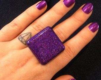 Purple holographic square resin statement ring - kitsch kawaii cute