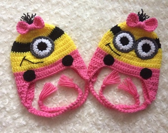 Crochet Minion Hat- Pink - MADE TO ORDER - One Eye or Two Eyes