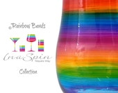 Personalised Rainbow Glass Gift For Any Occasion Celebration Gifts That Make You Smile Wine or Champagne Rainbow Bands