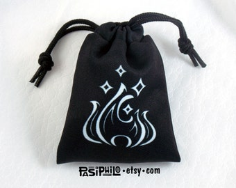 Sorcerer Fantasy RPG Mini Drawstring Dice Pouch, White Symbol on Black