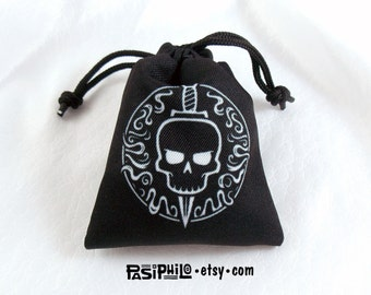 Rogue Fantasy RPG Mini Drawstring Dice Pouch, White Symbol on Black