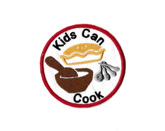 """3"""" Kids Cooking Merit Badge, Patch! Any Color combo! Custom Made!"""