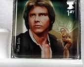 Star Wars Han Solo Harrison Ford The Force Awakens UK Glass Tile Pendant Key Ring Genuine Postage Stamp