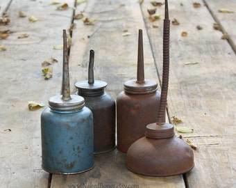 Old Rusty Oil Cans - Eagle Oil Cans - Vintage Farm Equipment Oil Cans - Oilers - Four Oil Cans