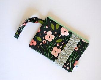Black Ruffled Wristlet, Black Floral Wristlet, Small Black Clutch, Black and Pink Clutch Black Ruffle Clutch Wallet Floral Zipper Pouch