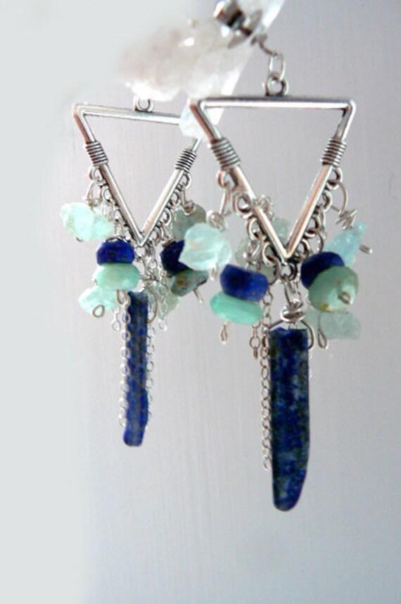 Raw lapis triangle earrings-Rough stone gemstone chandelier earrings-Dangling blue opal earrings- Boho earrings- Fashion earrings