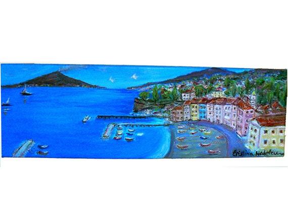 Sorrento vista oil painting- Italian coast painting- Panoramic original oil canvas- Seascape volcano art -Size 4x12in- Wall decor art- gift