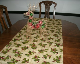 Holiday Table Runner, Winter Decor, Bed Runner Set with Pillow, Home Decor, Dresser Scarf, Holly Berries, Bed Accessories, Holiday Decor,