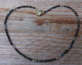 Vintage glass bead and rhinestone necklace
