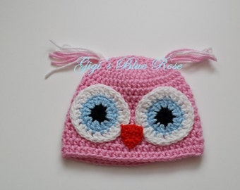 Crochet Baby Owl Hat/Hospital Hat/Beanie/Ready to Ship