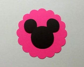 25 Hot pink 3 inch scalloped circles with Mickey head