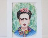 Watercolor Frida Kahlo Art Print - Framed Art Print on Handcrafted Paper - Home Decor - Frida Art