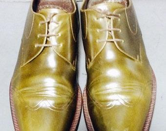 GIORGIO ARMANI Green Leather Derby Shoes Men's Size 11