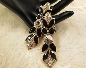 BIJOUX NEW YORK  Stunning Black Enamel and Clear Rhinestone Dangling Earrings