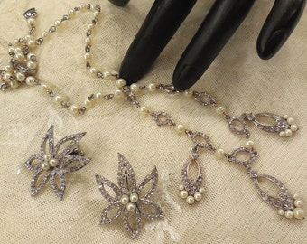 CAROLEE Faux Pearl and Rhinestone Necklace & Earring Set