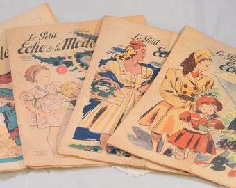 """Four -4- French Vintage Fashion Magazines """"Le Petit Echo de la Mode"""""""