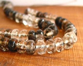 "15"" 8mm Black Cherry Quartz FACETED rondelle beads gemstone - black clear muti color - full strand"