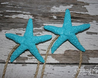 Curtain tie backs / drapery tiebacks / Starfish Tiebacks / Curtain holdbacks / window treatments / beach house decor / seaside decor