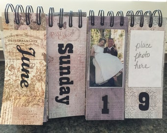 Perpetual desk calendar personalized photos scrapbook style