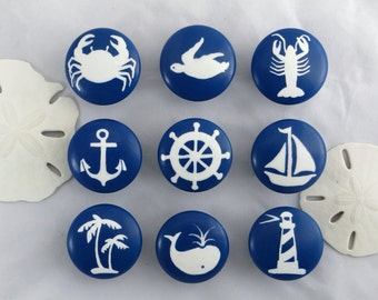 Nautical Drawer Knob, Custom Ocean Drawer Knob, Beach Decor, Beach Drawer Pull, Nautical Drawer Pull