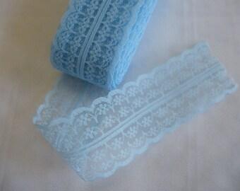 Lace trim ribbon. Double edged lace.  Pale blue.  Trim