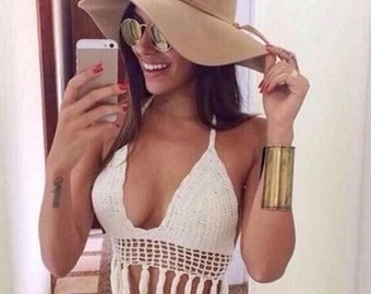 Fringe crochet bikini top