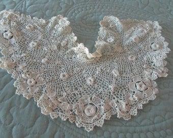 Edwardian lace collar, irish crochet, standup collar