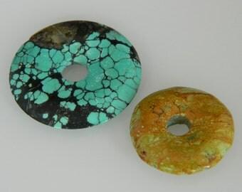 Turquoise Donut Pendants Lot of 2