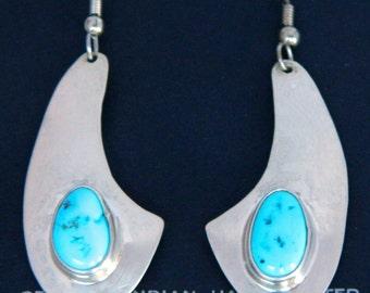 Native American Navajo Kingman Turquoise SterlingDangle Vintage Earrings SALE!
