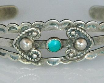 Native American Navajo Fred Harvey Era Turquoise Sterling Bracelet 1960s SALE!