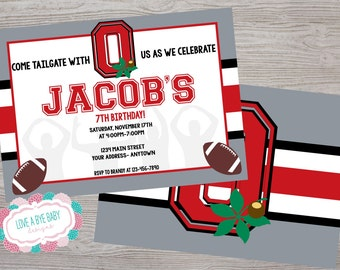 Ohio football birthday party invitation. ANY Team printable. digital download