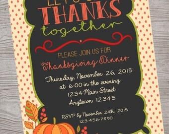 Thanksgiving Dinner invitation party. printable. digital download