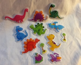 Puffy dinosaur cupcake toppers