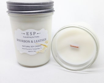 Bourbon & Leather wood wick, natural soy candle in glass jelly jar with lid 6oz