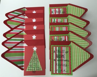 Religious Christmas Cards, Set of 10 with lined envelopes