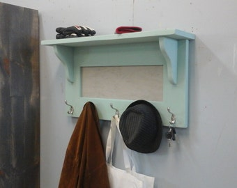 Entry Mirror with Hooks and shelf / White Coat Hanger With mirror / Entry Hanger