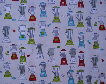 Metro Cafe Retro Kitchen Blenders Cotton Fabric 1 yard Last Piece Robert Kaufman Fabrics