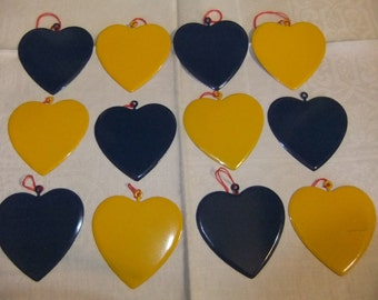 Blue and Yellow Enamel Heart Ornaments, Six of Each Color, Swedish Colors