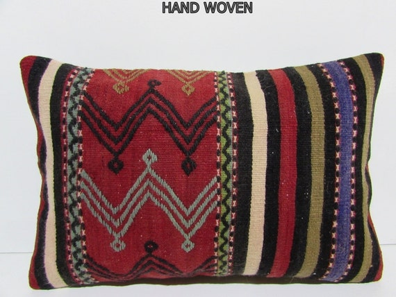 16x24 coral kilim pillow lumbar throw pillow long decorative