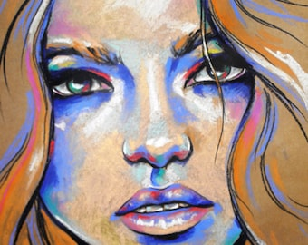 Delilah- Colorful pastel on brown packing paper original portrait of a woman