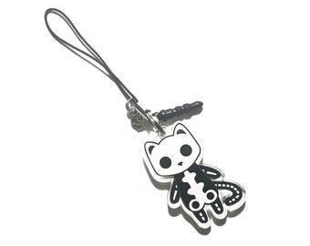 Creepy Cute Monster Cat Charm - Socket the Skeleton Cat - creepy cute monster cats pastel goth kawaii grunge halloween