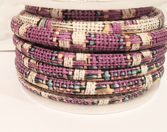 """16"""" Synthetic 5mm Eco Round Leather Cord, Purple"""