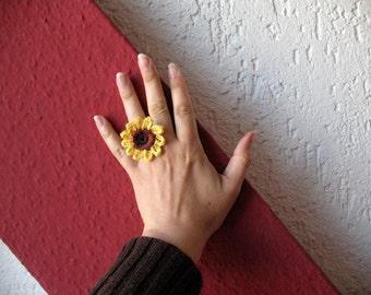 Boho sunflower ring, sunflower crochet ring
