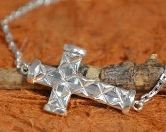 Silver Side Cross Bracelet - 100% Sterling Silver