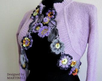 Purple Crochet Bolero Crochet Top Reconstructed Top Boho Chic Top Upcycled Clothing  Flower Top Women Knit Blouse Women