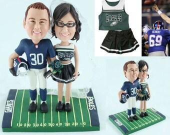 America football wedding - Personalised wedding cake topper (Free shipping)