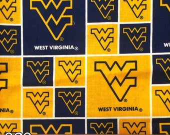 NCAA West Virginia University Mountaineers College Logo Cotton Fabric! [Choose Your Cut Size]