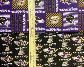 Baltimore Ravens NFL Logo Purple & Black Cotton Fabric by Fabric Traditions! [Choose Your Cut Size]