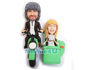 motorbike couple wedding cake topper 3d doll  (Free Shipping Worldwide)