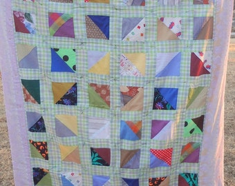 Vintage Hand Stitched Colorful Patch Work Patchwork Small Quilt or Throw 47 x 59 Inches